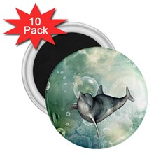 Funny Dswimming Dolphin 2 25  Magnets (10 Pack)