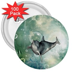 Funny Dswimming Dolphin 3  Buttons (100 Pack)