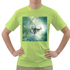 Funny Dswimming Dolphin Green T Shirt