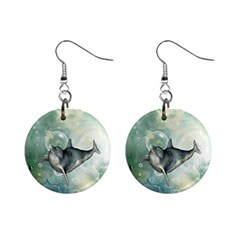 Funny Dswimming Dolphin Mini Button Earrings