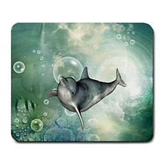 Funny Dswimming Dolphin Large Mousepads