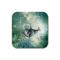 Funny Dswimming Dolphin Rubber Square Coaster (4 Pack)