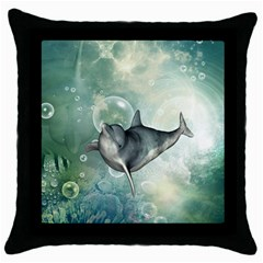Funny Dswimming Dolphin Throw Pillow Cases (black)