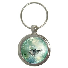 Funny Dswimming Dolphin Key Chains (round)