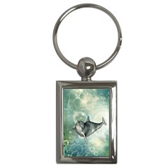 Funny Dswimming Dolphin Key Chains (rectangle)