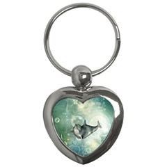 Funny Dswimming Dolphin Key Chains (heart)