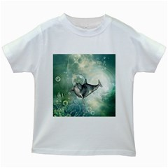 Funny Dswimming Dolphin Kids White T Shirts