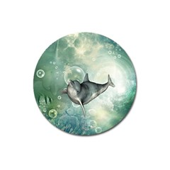 Funny Dswimming Dolphin Magnet 3  (round)