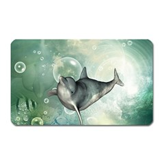 Funny Dswimming Dolphin Magnet (rectangular)