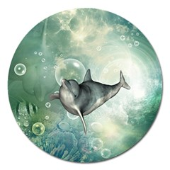 Funny Dswimming Dolphin Magnet 5  (round)