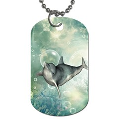 Funny Dswimming Dolphin Dog Tag (one Side)