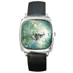 Funny Dswimming Dolphin Square Metal Watches