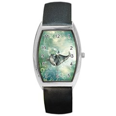 Funny Dswimming Dolphin Barrel Metal Watches