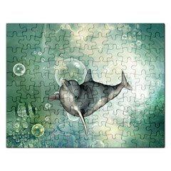 Funny Dswimming Dolphin Rectangular Jigsaw Puzzl
