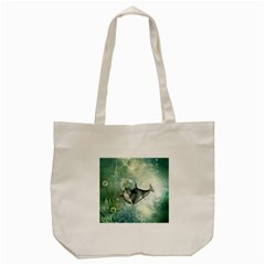 Funny Dswimming Dolphin Tote Bag (cream)