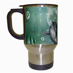 Funny Dswimming Dolphin Travel Mugs (white)