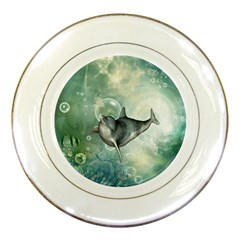 Funny Dswimming Dolphin Porcelain Plates
