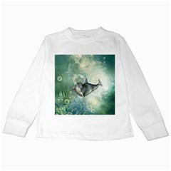 Funny Dswimming Dolphin Kids Long Sleeve T Shirts