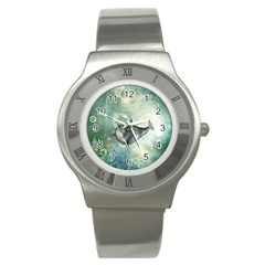 Funny Dswimming Dolphin Stainless Steel Watches