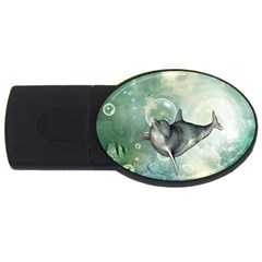 Funny Dswimming Dolphin Usb Flash Drive Oval (4 Gb)