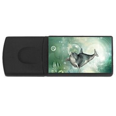Funny Dswimming Dolphin Usb Flash Drive Rectangular (4 Gb)