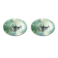 Funny Dswimming Dolphin Cufflinks (oval)