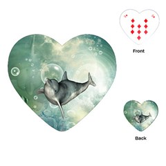 Funny Dswimming Dolphin Playing Cards (heart)