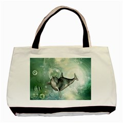 Funny Dswimming Dolphin Basic Tote Bag