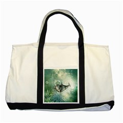 Funny Dswimming Dolphin Two Tone Tote Bag