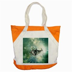 Funny Dswimming Dolphin Accent Tote Bag