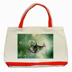 Funny Dswimming Dolphin Classic Tote Bag (red)