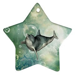 Funny Dswimming Dolphin Star Ornament (two Sides)