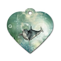 Funny Dswimming Dolphin Dog Tag Heart (two Sides)