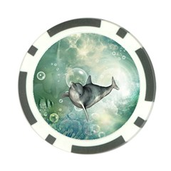 Funny Dswimming Dolphin Poker Chip Card Guards