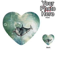 Funny Dswimming Dolphin Multi Purpose Cards (heart)