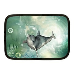 Funny Dswimming Dolphin Netbook Case (medium)