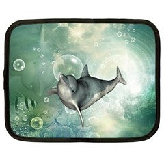 Funny Dswimming Dolphin Netbook Case (large)