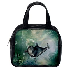 Funny Dswimming Dolphin Classic Handbags (one Side)