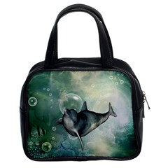 Funny Dswimming Dolphin Classic Handbags (2 Sides)