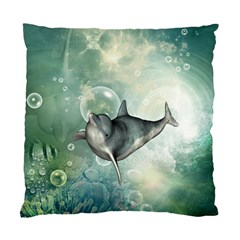 Funny Dswimming Dolphin Standard Cushion Case (one Side)  by FantasyWorld7