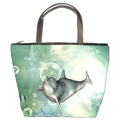 Funny Dswimming Dolphin Bucket Bags