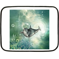 Funny Dswimming Dolphin Double Sided Fleece Blanket (mini)