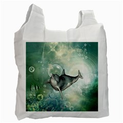 Funny Dswimming Dolphin Recycle Bag (one Side)