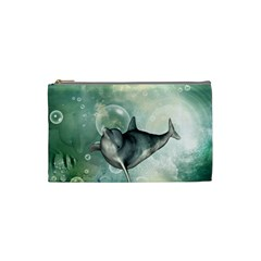 Funny Dswimming Dolphin Cosmetic Bag (small)