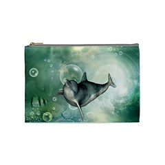 Funny Dswimming Dolphin Cosmetic Bag (medium)