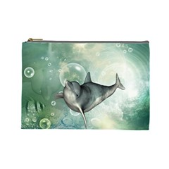 Funny Dswimming Dolphin Cosmetic Bag (large)