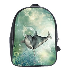 Funny Dswimming Dolphin School Bags(large)