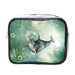 Funny Dswimming Dolphin Mini Toiletries Bags