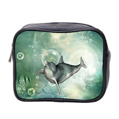 Funny Dswimming Dolphin Mini Toiletries Bag 2 Side