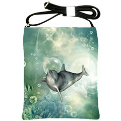 Funny Dswimming Dolphin Shoulder Sling Bags